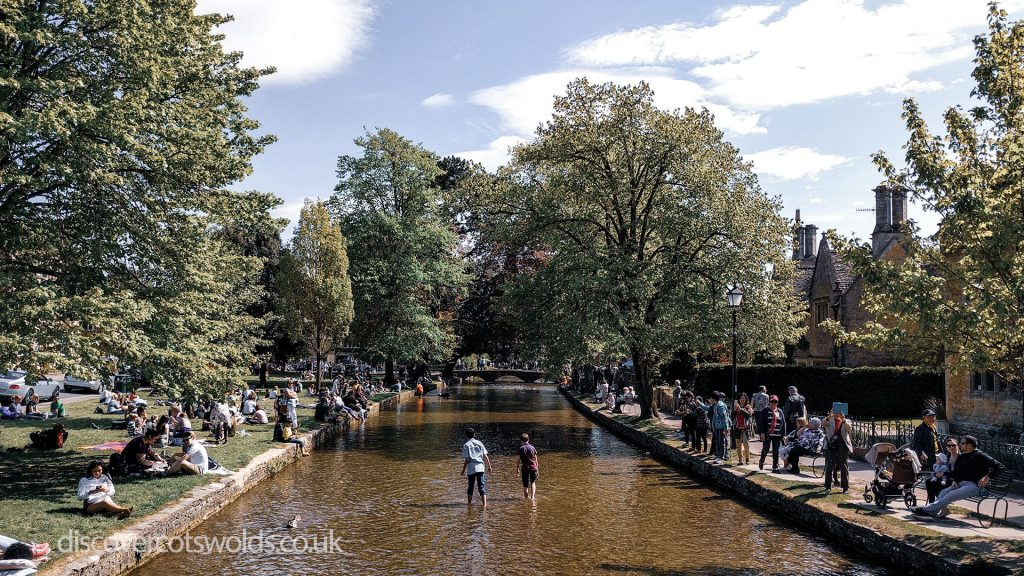 Busy Bourton on the water in the summer