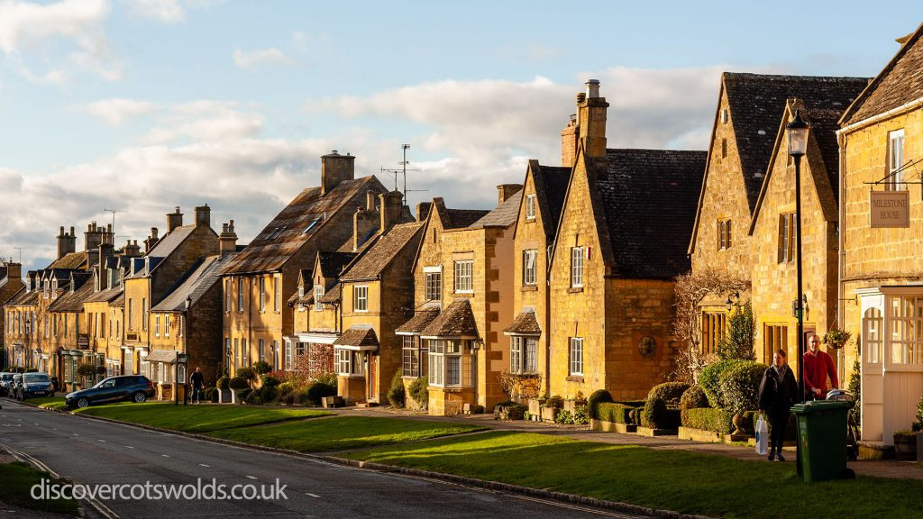 Houses in Broadway, Costwolds lit up in the afternoon sun