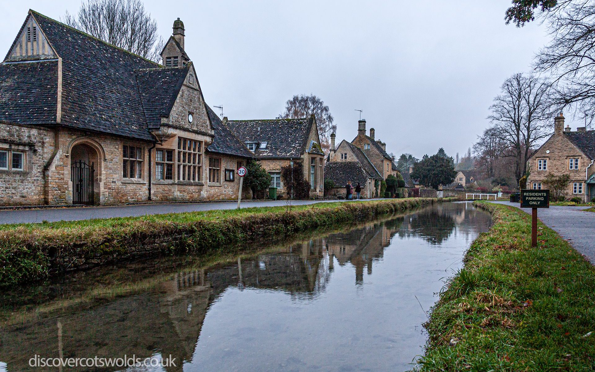 A view along the river Eye in Lower Slaughter, in winter