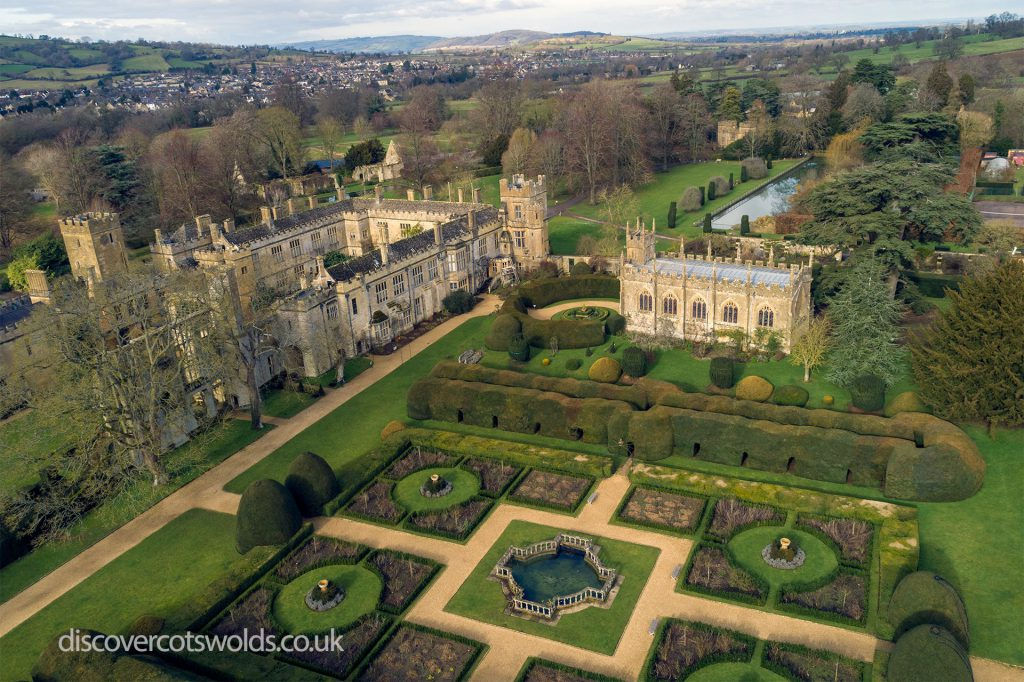 An aerial photo of Sudeley Castle, showing the extent of the buildings and gardens