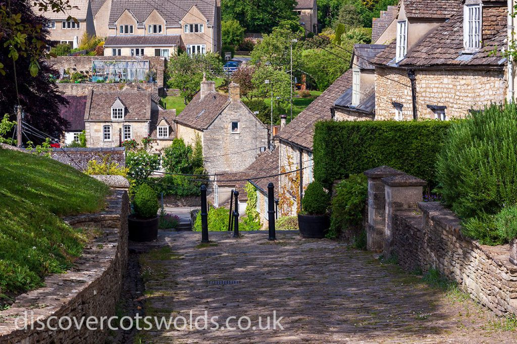 Looking down from the top of the Chipping Steps in Tetbury