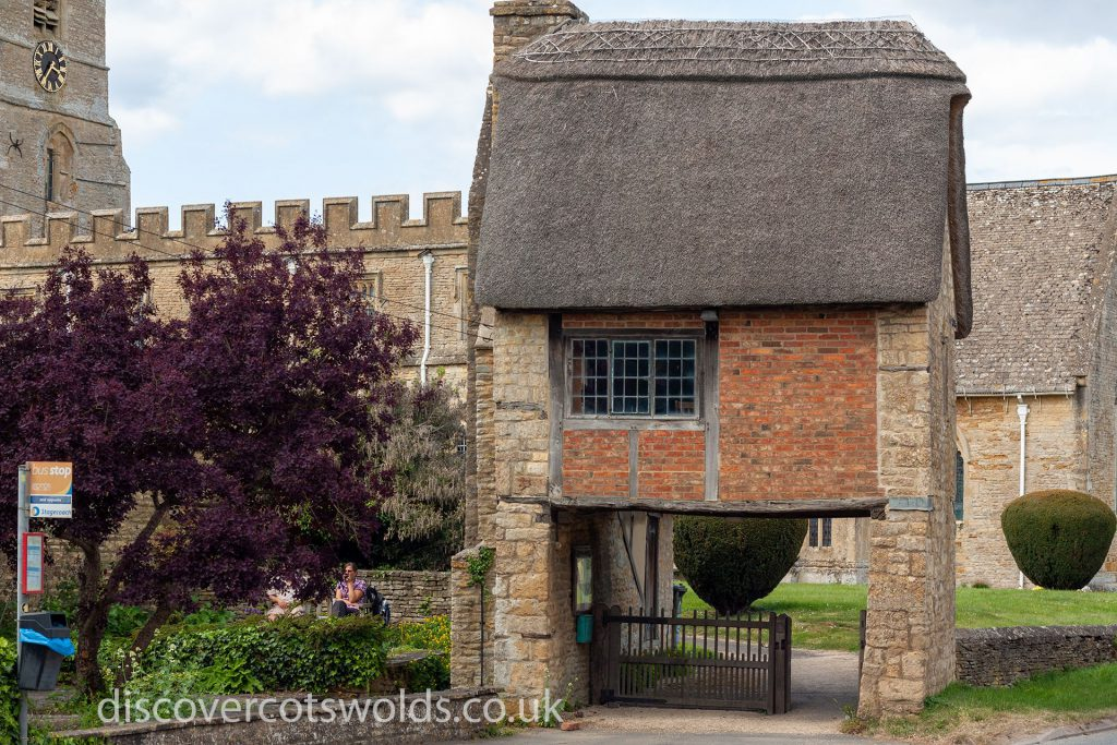 The Long Compton lych gate and church