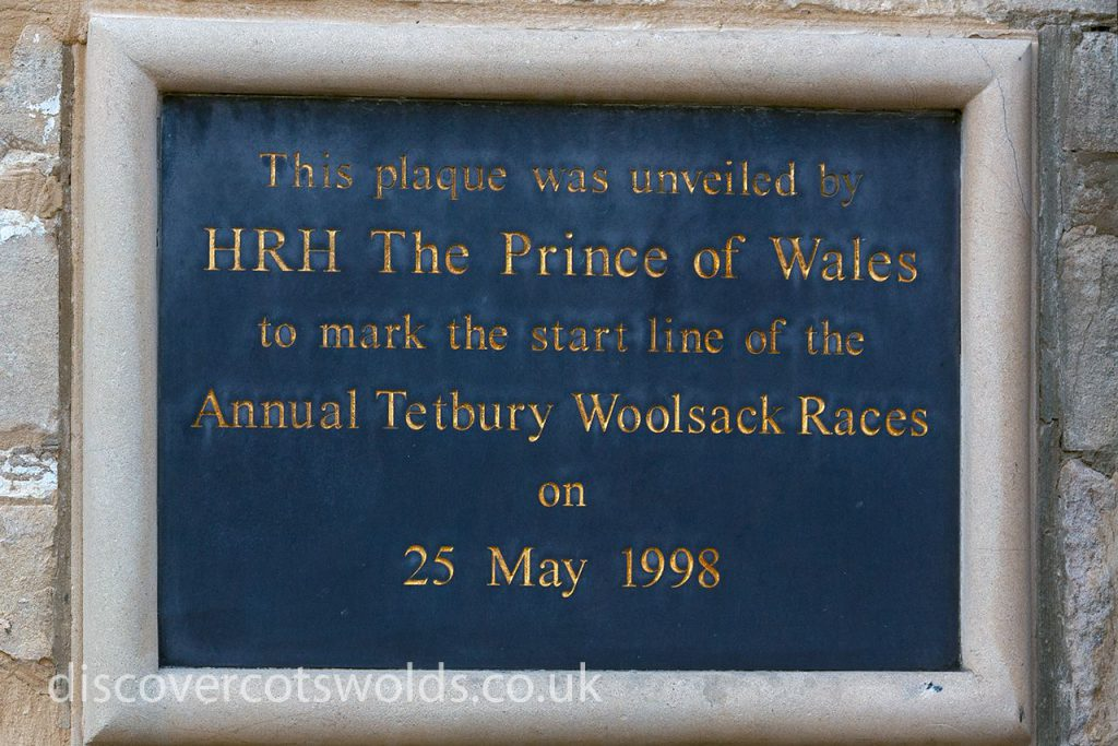 Plaque marking the start of the Tetbury Woolsack races
