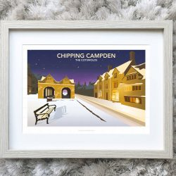 Framed illustration of Chipping Campden at night