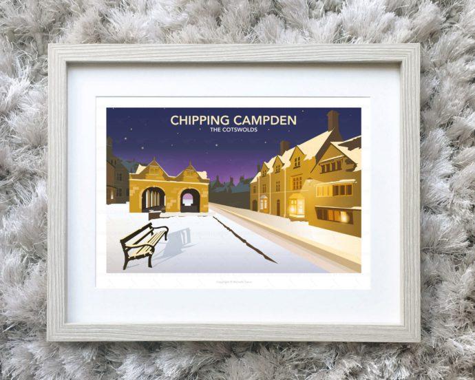 Framed illustration of Chipping Campden at night