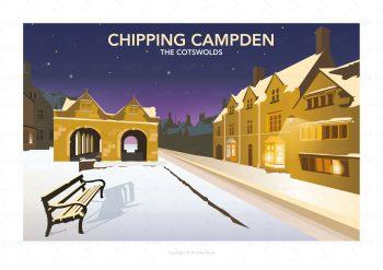 Illustration of Chipping Campden at night