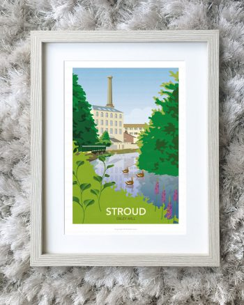 Framed illustration of Ebley Mill