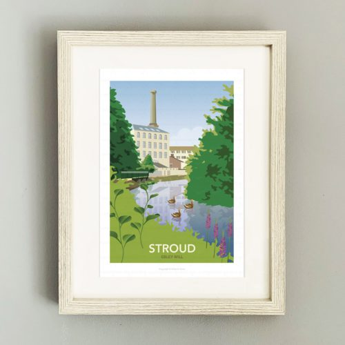 Framed illustration of Ebley Mill, Stroud