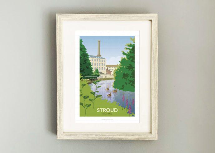 Framed illustration of Ebley Mill, Stroud