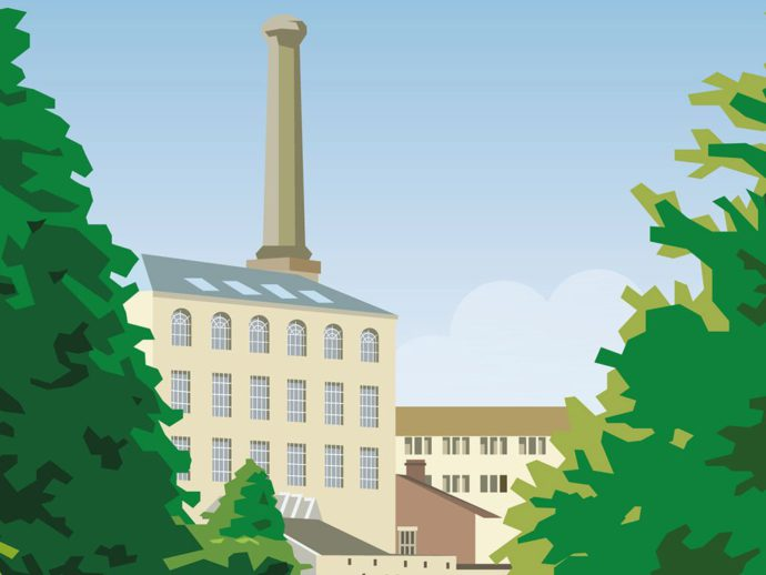 Close up of Illustration of Ebley Mill in Stroud