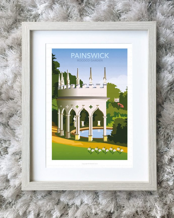 Framed illustration of Painswick Rococo Garden