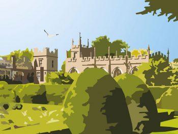 Close up of Framed illustration of Sudeley Castle