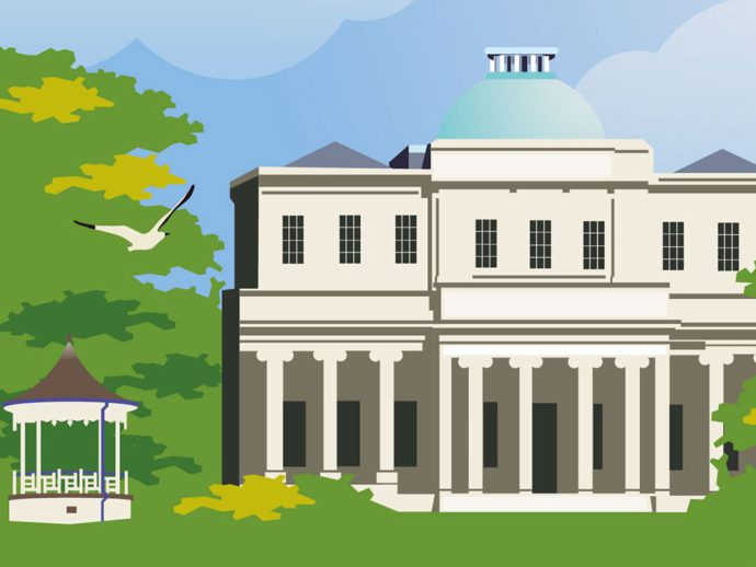Close up of illustration of Pittville Park, Cheltenham