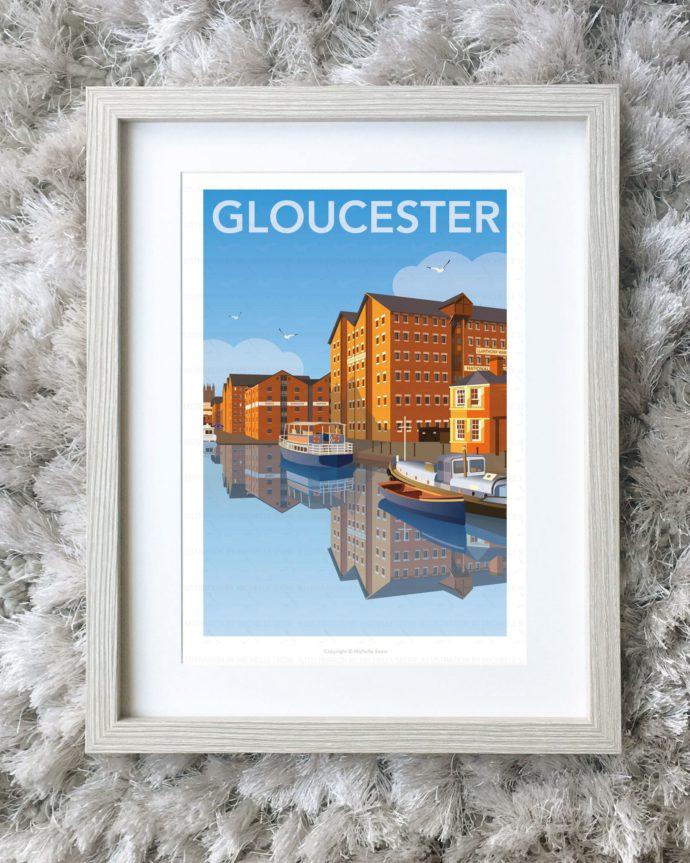 Framed illustration of Gloucester docks