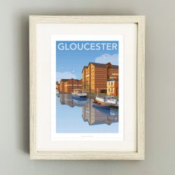 Framed illustration of Gloucester docks