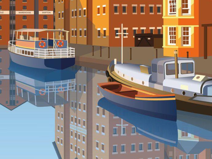 Close up illustration of Gloucester docks