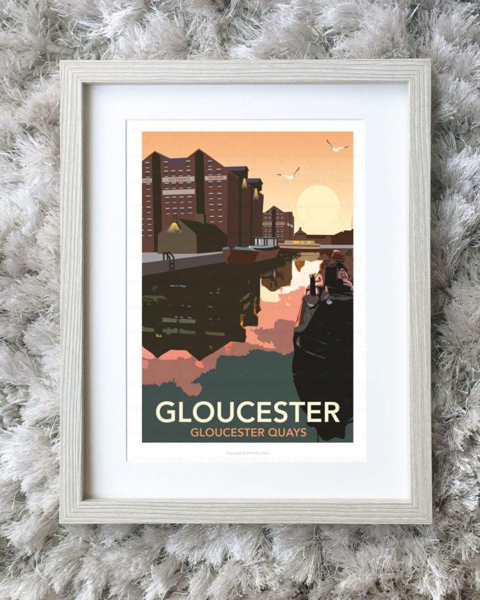 Framed illustration of Gloucester Docks at night