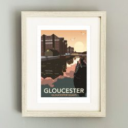 Framed illustration of Gloucester Docks at night
