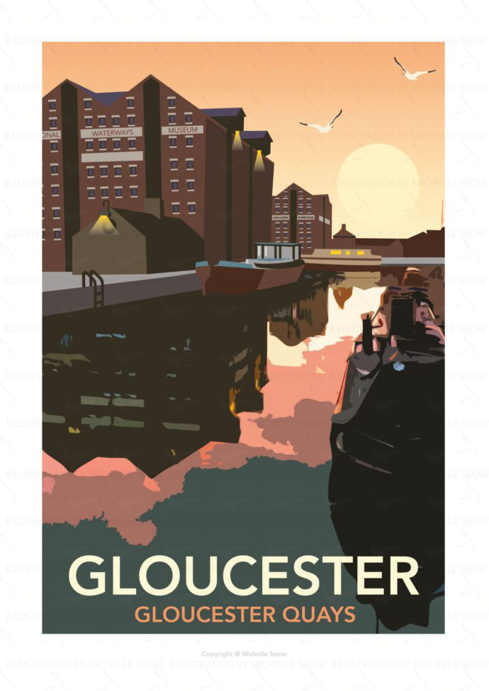 Illustration of Gloucester Docks at night