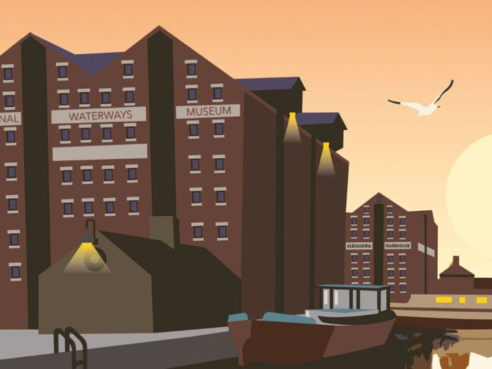 Close up illustration of Gloucester Docks at night