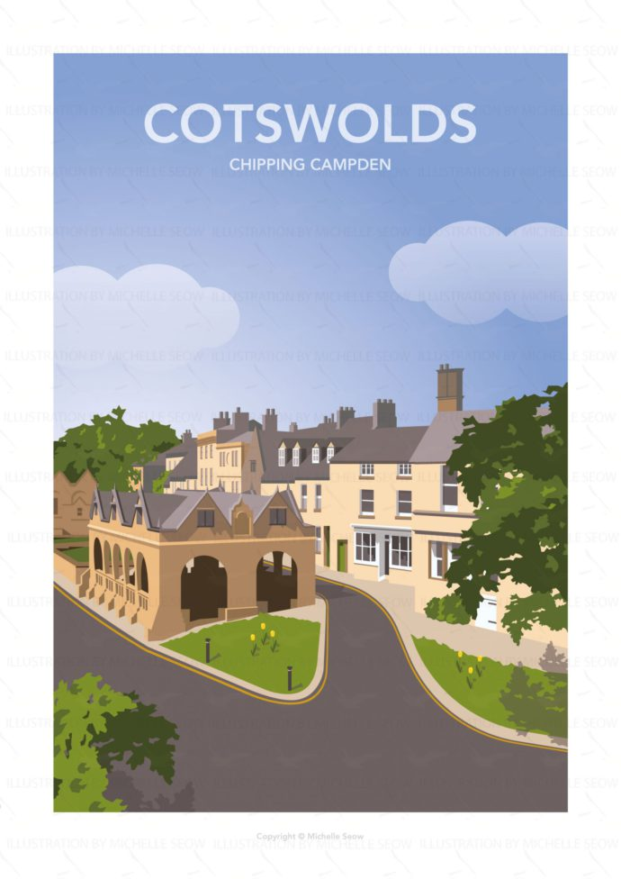 Travel poster of Chipping Campden by Michelle Seow