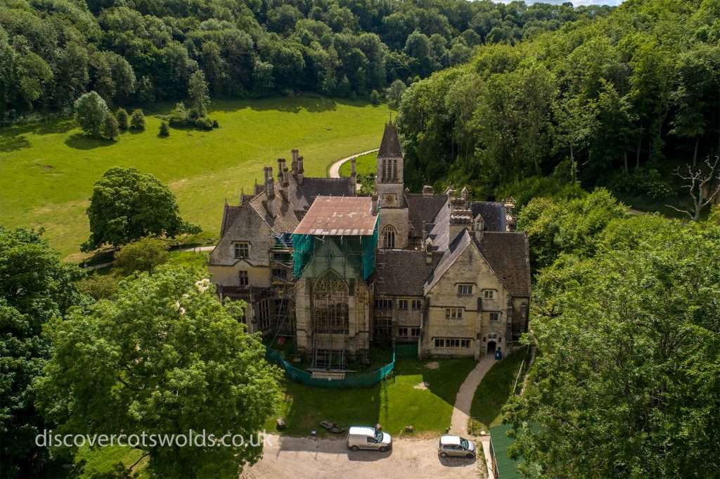 Aerial photograph of the eastern elevation of Woodchester Mansion