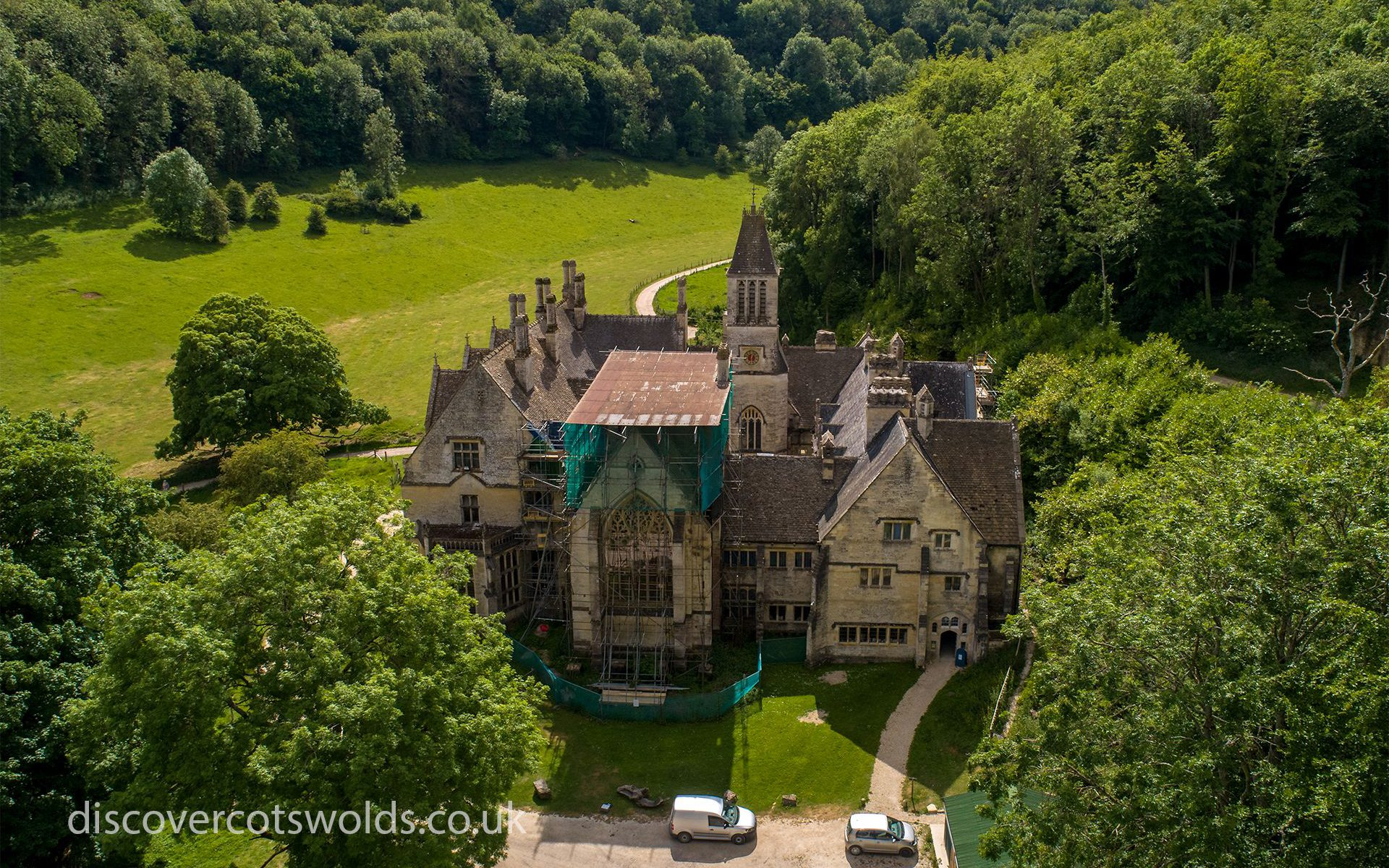 Aerial photo of the eastern elevation of Woodchester Mansion