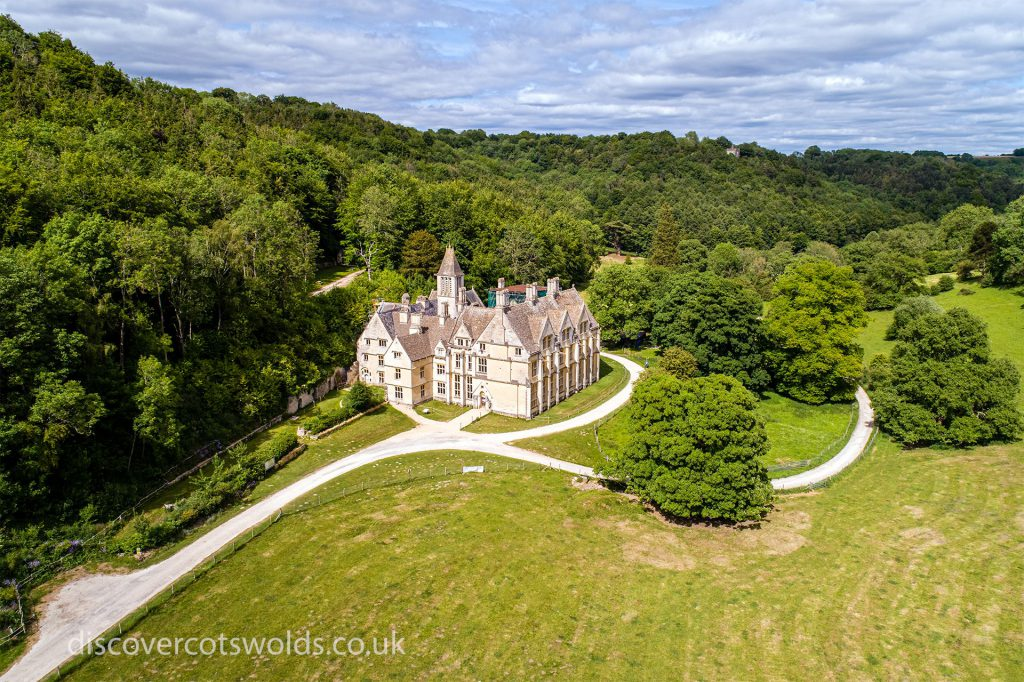 Aerial photograph of Woodchester Mansion from the western approach