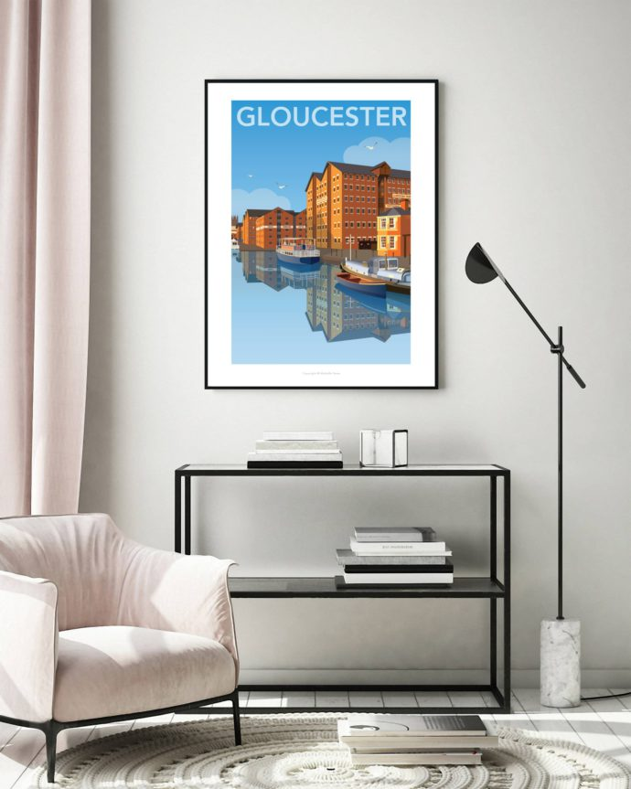 Illustrated image of Gloucester Docks