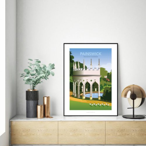 Painswick gardens travel poster