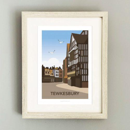Framed illustration of Tewkesbury