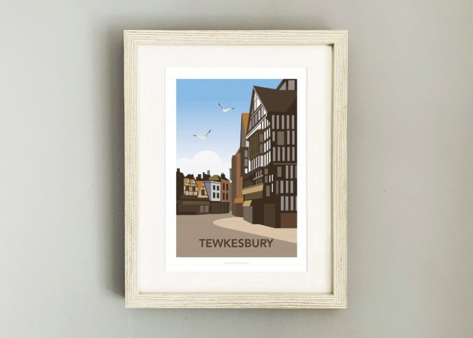 Framed illustration of Tewkesbury