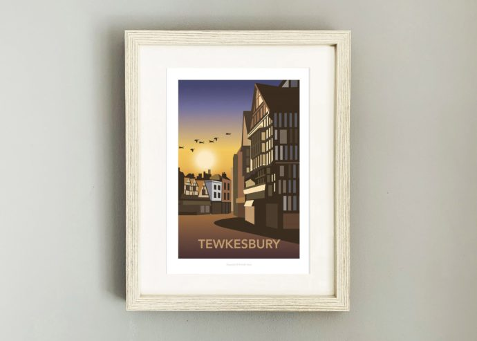 Framed Travel post of Tewkesbury at sunset