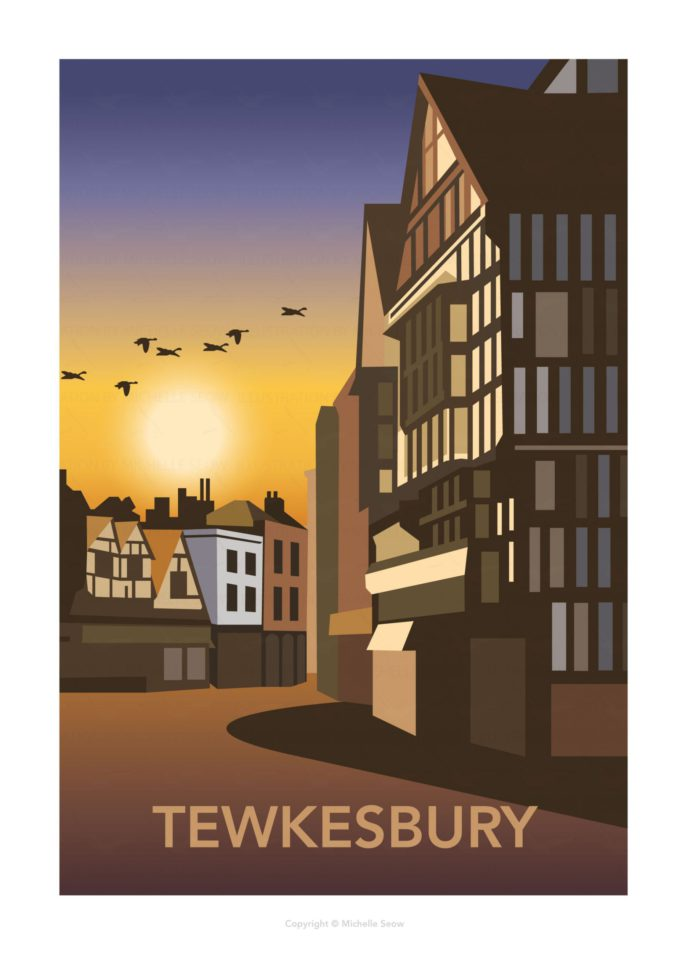 Travel post of Tewkesbury at sunset