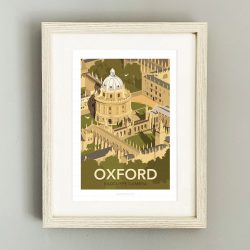 Framed travel poster of Oxford University