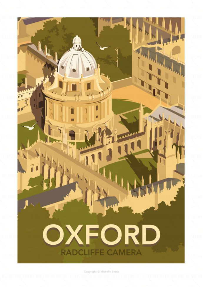 Illustrated travel poster of Oxford University