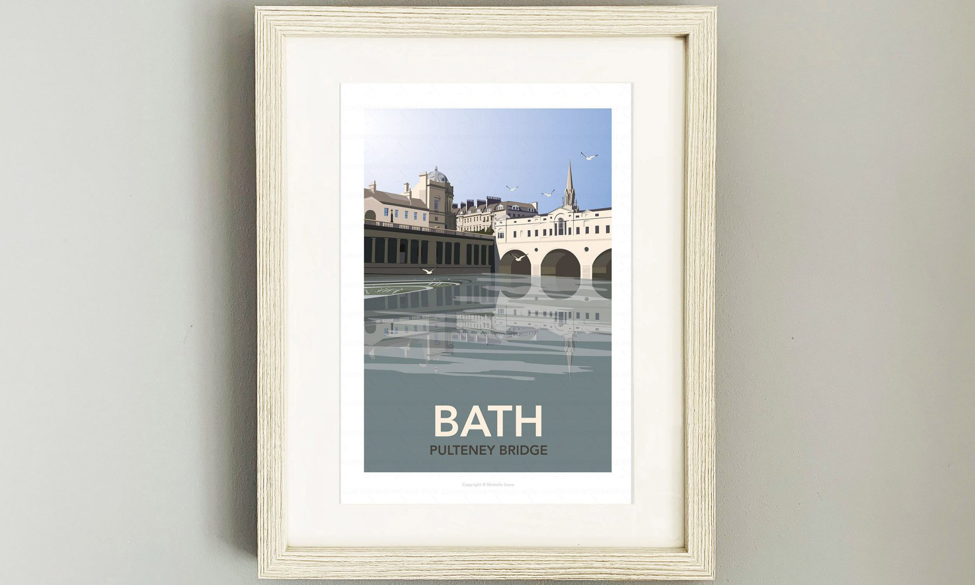 Framed travel poster of Bath's Pulteney Bridge