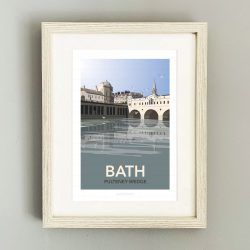 Framed travel poster of Bath's Pulteney Bridge