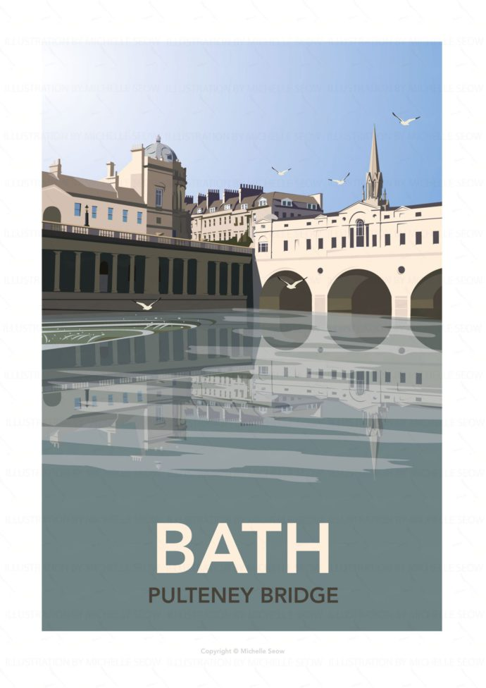 Illustrated travel poster of Bath's Pulteney Bridge