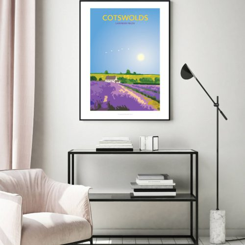 Illustrated travel poster of Cotswold Lavender