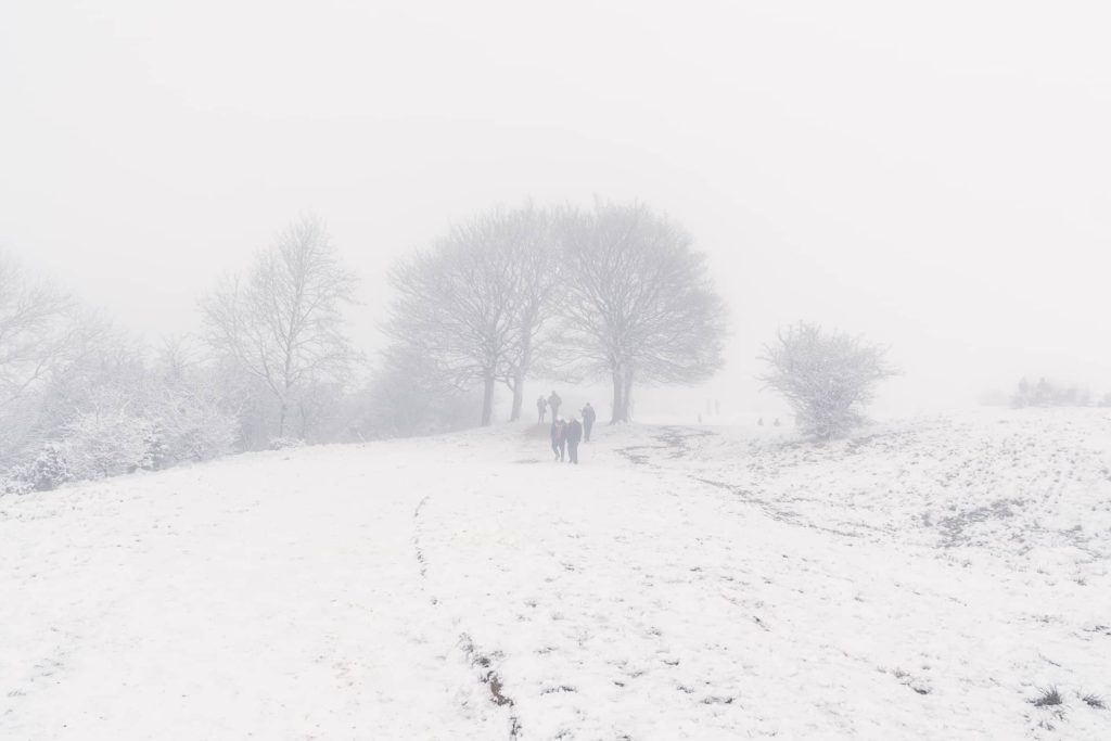 At the top of Middle Hill in the snow